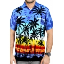 Hawaii Style Coconut Tree Printed Short Sleeve Chest Pocket Button Up Beach Shirt for Men