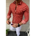 Mens Casual Street Long Sleeve Turndown Collar Slim Fitted Striped Shirt