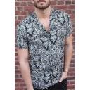 Summer Popular Black Totem Print Short Sleeve Button Up Beach Camp Shirt for Men