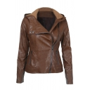 Brown Street Long Sleeve Hooded Zipper Front Pockets Side Slim Fit Leather Jacket for Girls