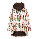 White Fashion Long Sleeve Hooded Button Down Cartoon Character Print Shearling Lined Baggy Coat for Girls