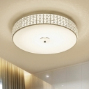 Round Crystal Ceiling Mounted Light Contemporary Silver LED Flush Light Fixture, 12