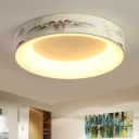Round/Square Shaped Flush Light Fixture Metal LED White for Bedroom Close to Ceiling Lighting