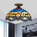 Red/White Dragonfly Lighting Fixture Tiffany-Style 1 Bulb Multicolored Stained Glass Flush Mount Ceiling Light