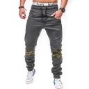 Mens Leisure Camo Patchwork Drawstring Waist Elastic Cuff Loose Fit Streetwear Pants