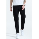Casual Fashion Plain Zipper Fly Straight Fit Outdoor Street Style Pants for Men