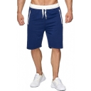 Mens Casual Contrast Trim Drawstring Waist Zipper Pocket Loose Sport Shorts