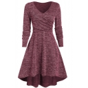 Basic Plain Long Sleeve V-Neck Midi Flared Wrap Pleated A-Line Dress for Women