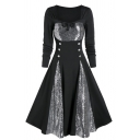 Black Fashion Long Sleeve Square Neck Bow Tie Button Front Sequined Patched Midi Pleated Flared Special Occasion Dress for Women