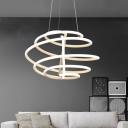 Simple Style Spiral Chandelier Light Acrylic Living Room LED Pendant Light in White