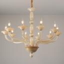 White 6/10 Bulbs Chandelier Lighting Vintage Metal Starburst Suspension Pendant Light