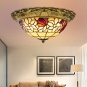 Flower Stained Glass Flush Mount Lamp Tiffany Style 15