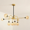 Post Modern Spherical Pendant Light Amber Glass Shade Decorative Chandelier in Black