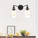 Bell Dining Room Wall Lighting Fixture Vintage Style Clear Glass 2 Lights Black/Bronze/Brass Sconce Light