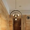 Vintage Wheel Cage Pendant Light 3 Lights Metal Chandelier Lamp in Black for Living Room