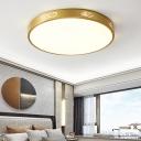 Metal Disk Flush Mount Light Fixture Postmodern Gold LED Ceiling Lighting, 12