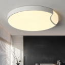 Circular Metal Flush Light Minimalist White/Black LED Ceiling Mounted Fixture, Warm/White Light