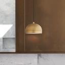 Metal Dome Hanging Lamp Kit Minimalist 1 Light Brass Down Lighting Pendant for Bedside