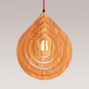 Asian 1 Head Ceiling Lighting Beige Droplet Hanging Pendant Light with Wood Shade