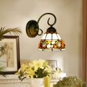 Stained Glass White/Beige/Green Sconce Light Domed Shade 1 Light Mediterranean Wall Mounted Lighting