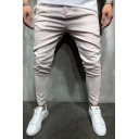 Simple Plaid Printed Side Tape Mid Waist Slim Fitted Leisure Pants for Men