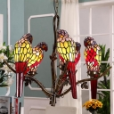 Green 5 Lights Chandelier Pendant Light Victorian Stained Glass Parrot Shaped Hanging Lamp Kit