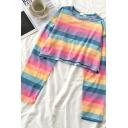 Fancy Girls' Long Sleeve Crew Neck Stripe Patterned Loose Crop Tee