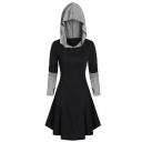 Vintage Medieval Cosplay Tie-Back Block Color Long Sleeve Hooded Mini Dress