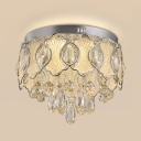 Retro Circular Ceiling Mount Light Fixture Cut Crystal LED Bedroom Flushmount Lighting in Nickle