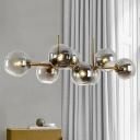 8 Heads Bedroom Island Light Modern Black/Gold Pendant Lighting Fixture with Global Clear/Smoke Glass Shade