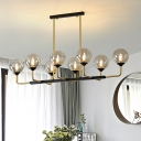 8 Bulbs Bedroom Island Light Modern Black-Gold Pendant Lighting Fixture with Orb Amber Glass Shade