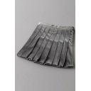 Preppy Girls' Pretty High Waist Velvet Plain Mini Pleated A-Line Skirt