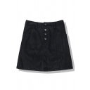 Cool Street Girls' High Waist Button Front Leather Mini A-Line Skirt in Black