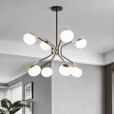 8 Heads Round Chandelier Lighting Modernist Frosted White Glass Hanging Ceiling Light in Black and Gold