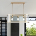 Contemporary Oval Island Lamp Clear Glass 3 Bulbs Pendant Lighting Fixture in Gold
