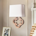 Trapezoid Fabric Wall Mount Light Minimalist 1 Light Living Room Sconce in White
