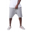 Men's Simple Contrast Trimmed Drawstring Waist Loose Fit Drop-Crotch Shorts