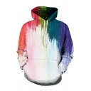 Unisex Creative Colorful Painted 3D Pattern Long Sleeve White Loose Hoodie with Pocket