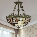 White/Blue Bowl Chandelier Lighting Tiffany-Style 3 Lights Stained Art Glass Pendant Lamp for Bedroom, 12