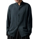 Men's Vintage Solid Color Stand Collar Long Sleeves Button-Up Oversized Linen Shirt