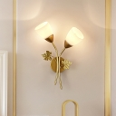 White Glass Wide Flare Sconce Light Modernist 2 Heads Gold/Black Wall Mounted Lighting with Metal Leaf