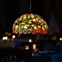 2 Lights Chandelier Lamp Mediterranean Domed Shaped Red/Green/Purple Cut Glass Pendant Lighting Fixture