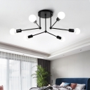 Metal Radial Semi Flush Mount Modernism 6 Heads Black Close to Ceiling Lighting for Bedroom