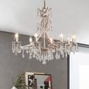 Minimalist Candle Pendant Chandelier 8 Lights Clear Crystal Hanging Lamp Kit in Chrome for Living Room