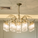 Beaded Crystal Pendant Chandelier Minimalism 4/7/9 Lights Living Room Ceiling Hang Fixture in Gold