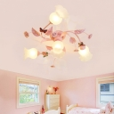 Traditional Flower Ceiling Mount Light Fixture 4/7 Bulbs Opal Glass Semi Flush Chandelier in Pink with Butterfly Accent