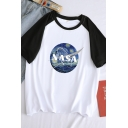 Womens Chic NASA Painting Printed Raglan Short Sleeve Round Neck Loose T-Shirt