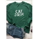 CAT MOM Letter Printed Long Sleeve Round Neck Relaxed Fit Leisure Sweatshirt