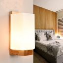 Wood Rectangular Sconce Chinese 1 Head Frosted Glass Wall Mount Light Fixture for Stairway