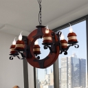 Vintage Candle Chandelier Light 4/6 Lights Metal Pendant Lighting Fixture in Dark Wood